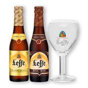 Kit Leffe Blond + Leffe Brown + Cálice Leffe