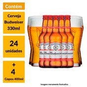 Super Kit Budweiser (24 Cervejas + 4 Copos)