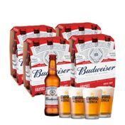 Kit 24 Cervejas Budweiser 330ml + 4 Copos Empório da Cerveja 350ml