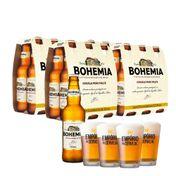 Kit 24 Cervejas Bohemia Puro Malte 355ml + 4 Copos Empório da Cerveja 350ml