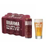 Kit Cerveja Brahma Duplo Malte 350ml Pack (12 Unidades)  + Copo Duplo Malte