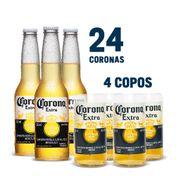 Super Kit Corona (24 Cervejas + 4 Copos)