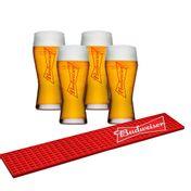 Kit Budweiser Barmat + 4 Copos