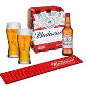 Kit Budweiser (Barmat + 2 Copos + 6 Cervejas 330ml)