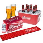 Kit Budweiser Completo (Balde + 1 Barmat + 2 Copos + 8 cervejas 269ml)