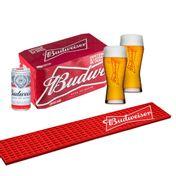 Kit Budweiser (Barmat + 2 Copos + 8 cervejas 269ml)