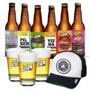 Kit Lohn Bier Completo (6 cervejas 355ml + 3 Copos + Boné)