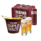 Kit Brahma Duplo Malte (2 Copos + 1 Balde de Alumínio + 12 cervejas 350ml)