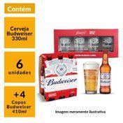 Kit Budweiser 4 copos 410ml + 6 cervejas 330ml GRÁTIS