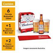 Kit Budweiser 2 Copos 410ml + 1 Barmat + 6 Cervejas 330ml GRÁTIS