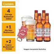 Kit Budweiser 2 Copos 410ml + 1 Abridor + 4 Cervejas 330ml GRÁTIS